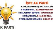 İŞTE AK PARTİ KAHRAMANMARAŞ MV. ADAYLARI